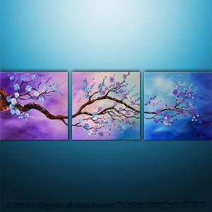 Abstract Modern Asian Zen Blossom Tree Landscape by Catalin
