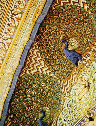 Ceiling of the Mashhad Mosque in Iran, decorated in multicolored majolica in a peacock motif