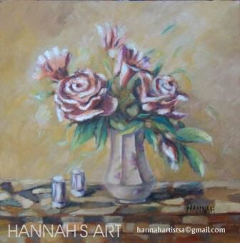 Artist:HANNAH, Roses in a vase, oil on canvas, 300 x 300, Price on request.