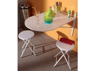 Table murale + 2 tabourets Sinai Blanc