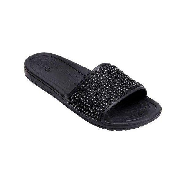 Women's Crocs Sloane Embellished Slide Sandal ($40) ❤ liked on Polyvore featuring shoes, sandals, black, casual, flat slide sandals, embellished flats, black flat shoes, flat pumps and crocs flats