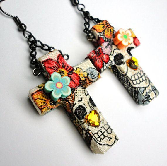 dia de los muertos BABIES   Día de los Muertos Earrings - Day of the Dead Sugar Skull Fabric on ...