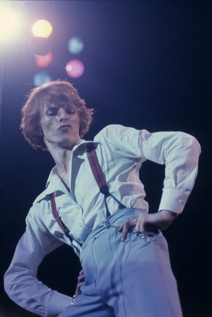 """berlinsbowie: """"David Bowie in concert during his Diamond Dog tour in Los Angeles, circa 1974. """""""