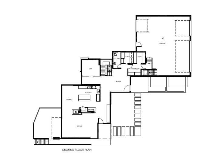 Ground floor plan of Amazing Ottawa River House by Christopher
