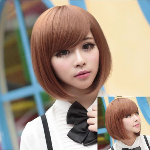 New Womens Ladies Short Straight BoB Hair Full Cosplay Costume Wig /Brown #UnbrandedGeneric #FullWig