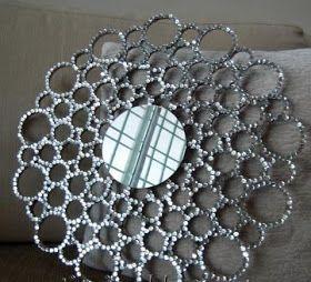 VCTRY's BLOG: Marco de espejo redondo con tubos de carton, facilisimo