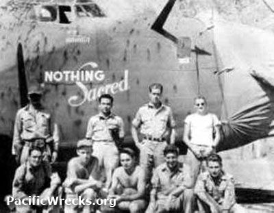 """Assigned to the 5th Air Force, 43rd Bombardment Group and operated from 7-Mile Drome near Port Moresby flying bombing missions over New Guinea.  During September 1943, trasnfered to the 380th Bombardment Group, 529th Bombardment Squadron. Nicknamed """"Nothing Sacred"""" and flew an additional 13 bombing missions."""
