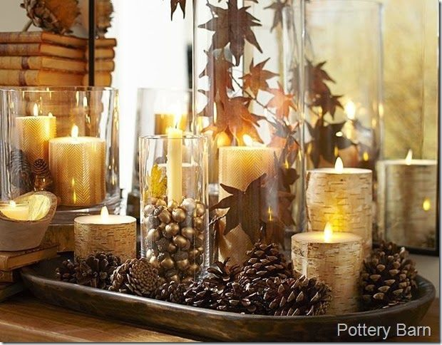 Pottery Barn Dough Bowl fall / Thanksgiving centerpiece with candles, pine cones, hurricanes, leaves