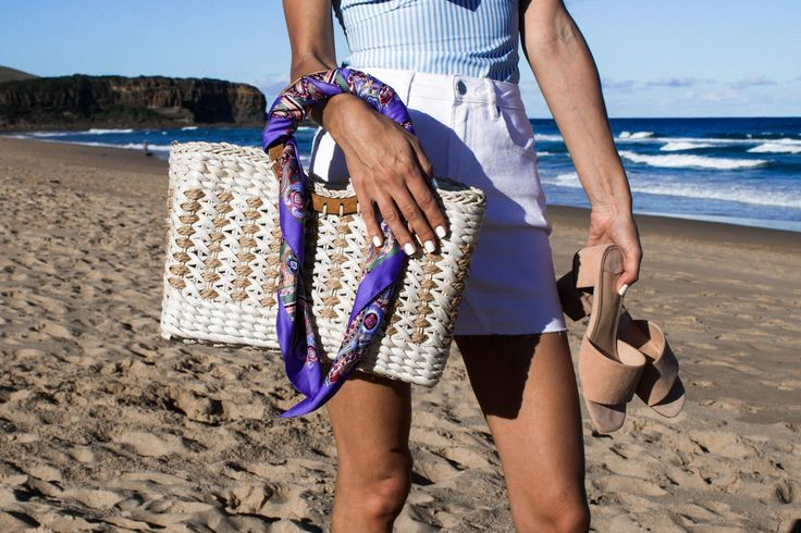 'LUST-HAVE' BASKET BAG  Straw bag, summer style, beach bag, silk headscarf, bag with silk scarf, beach style, pink mules, pink slides, Tony Bianco mules, white denim skirt, blue and white frill top, ocean beach, @thelustlife_