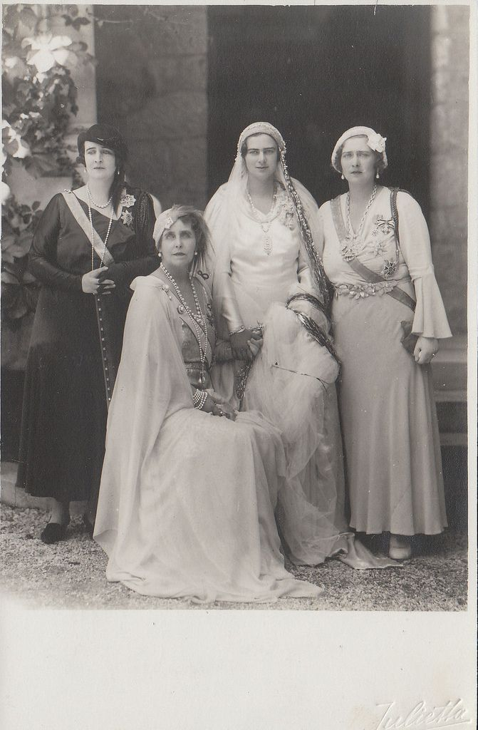 Queen Marie of Romania and her daughters, on Princess Ileana's wedding day, from left to right; Queen Elisabeth of the Hellenes (though at this point she was in exile, and she would 4 years later be divorced from her husband), Princess Ileana of Romania (soon-to-be Archduchess of Austria) and Queen Maria of Yugoslavia. July 26th, 1931.