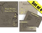Mason Jar Wedding Invitation RSVP with Fireflies- Digital DIY Printable. $34.99, via Etsy.