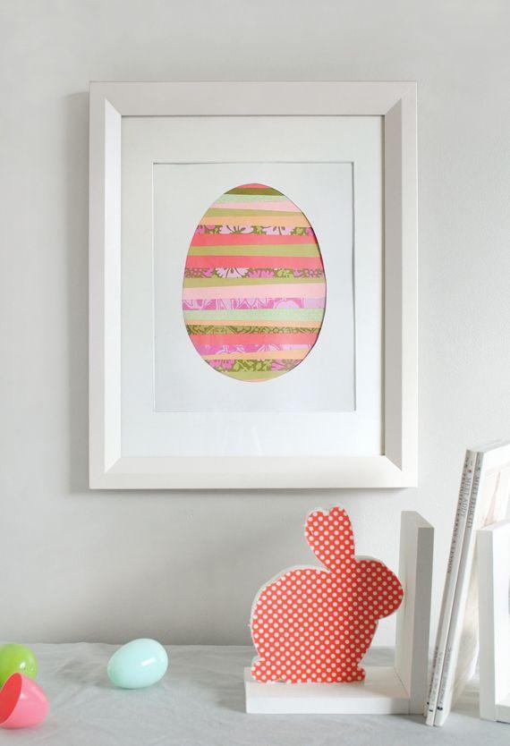 Quadro em formato de ovo: simples recorte e colagem, exige pouquíssima habilidade. Mas o resultado é puro charme.