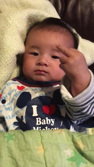 Newborn Japanese Baby Gives The Middle Finger