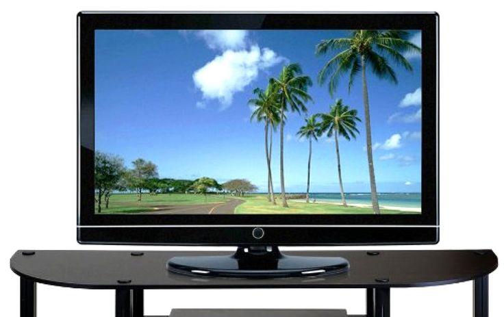 Turn-S-Tube Wide TV Entertainment Center Sturdy Flat Surface Espresso Black