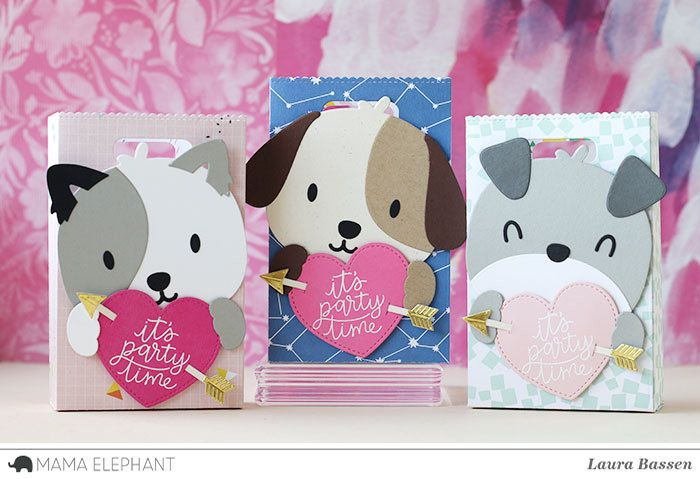 DIE CUT LOT 24 PUPPY DOGS with heart around eye Scrapbooking
