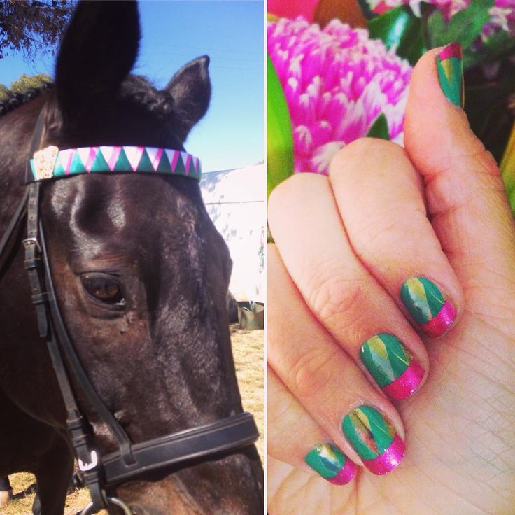 When you and your #thoroughbred are coordinating! Matching #Jamicure and #browband ;) #frostedforestjn #fiercefuchsiajn #trushinejn #jamberry #canhaveprettynailsandhorses