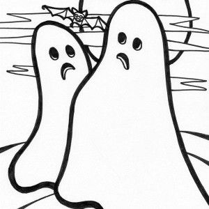 Ghost Two Hideous And A School Of Bat Coloring Page