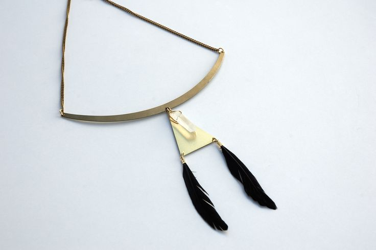 Geometrical Statement Black Feathered Necklace https://www.etsy.com/listing/195707843/geometrical-statement-black-feathered?ref=listing-6
