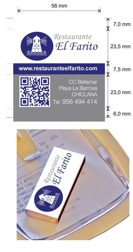 """Propuesta diseño cajas de cerillas modelo """"Hotel"""" para el restaurante El Farito en Chiclana (Cádiz)."""
