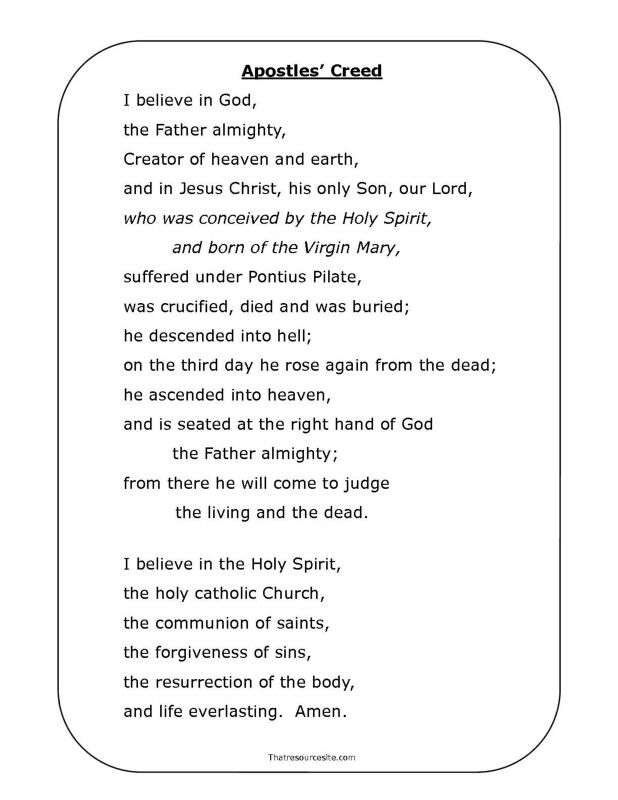 Apostles' Creed Printable Prayer Page                                                                                                                                                                                 More