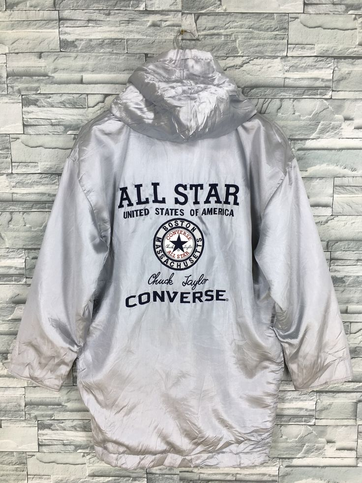 Excited To Share This Item From My Etsy Shop Converse All Star Jacket Hoodie Large Skaters Streetwear Vintag Hoodie Jacket Grey Bomber Jacket Converse Jacket