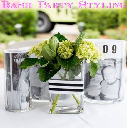 Easy 50th Birthday Centerpieces: Print old photos on a black and white printer. Insert them into a clear vase. Credit: Bash Party Styling.