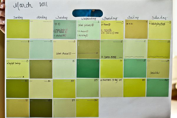 Paint chip calendar. Use behind frame (or laminate) for wet/dry erase. nice!