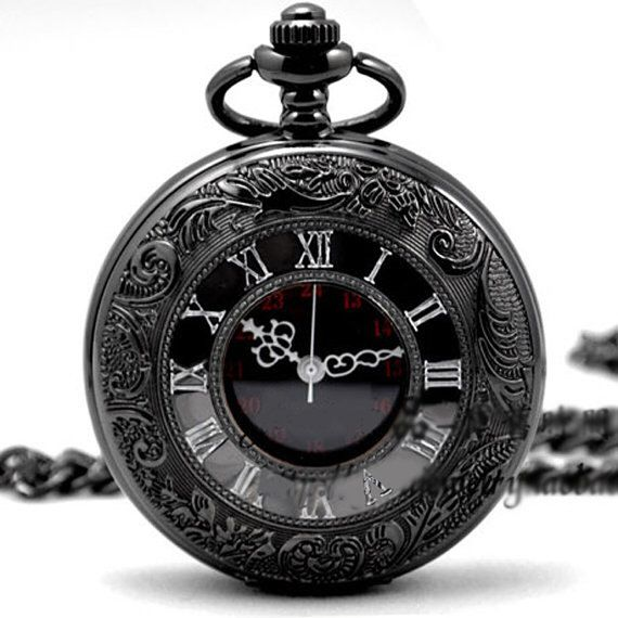 On Sale-Quartz Pocket Watch Black Chrome Pocket Watch Pendant Roman Number pocket watch-Groomsmen Gift Mens Pocket Watch  800-998 by life2creation on Etsy https://www.etsy.com/listing/173647776/on-sale-quartz-pocket-watch-black-chrome