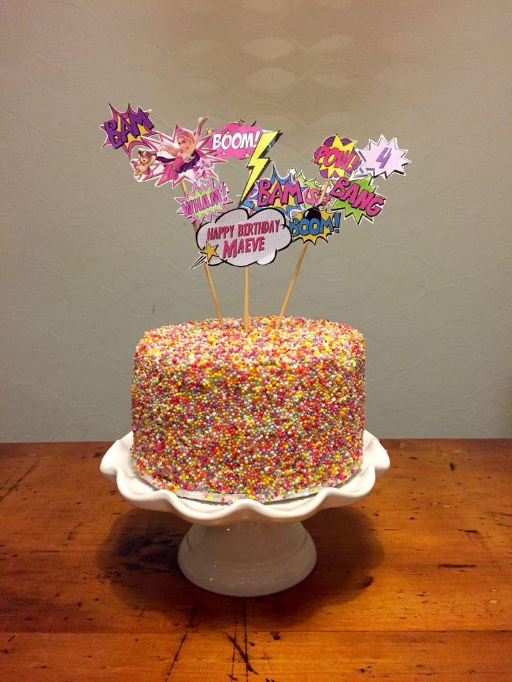 Super Sparkle Sprinkles superhero cake. barbie princess power cake.