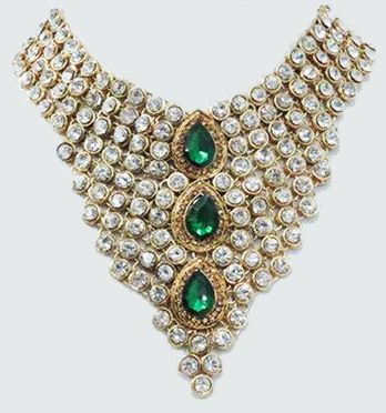 Green White Necklace Earring Set Bridal Jewelry India