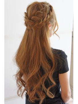 Two pancake english braids and soft curls