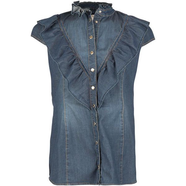 Mouwloze denim blouse Pien blauw ELISABETTA FRANCHI Little Soho ($370) ❤ liked on Polyvore featuring tops, blouses, shirred top, ruched tops, blue top, ruched blouse and blue blouse