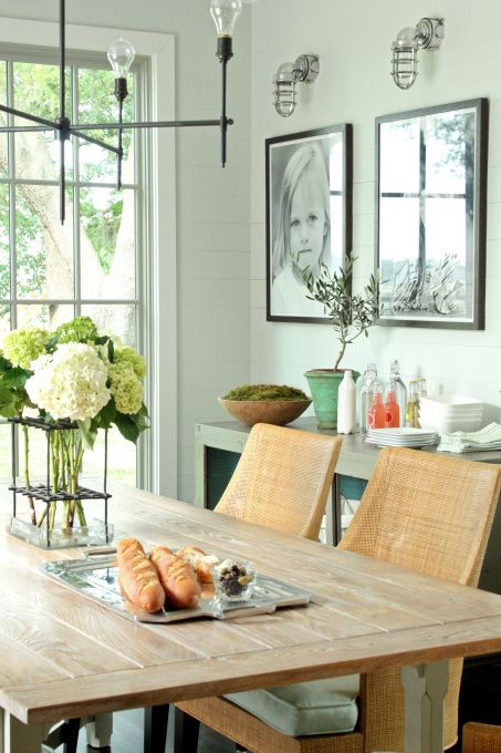 Wall and trim color: Dining Rooms, Dining Area, Industrial Styles, Wall Colour, Green Wall, Black And White, Casual Dining, Wall Color, Lighting Fixtures