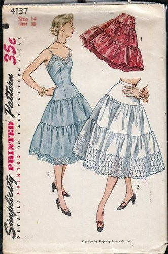 Vintage 1950s Full Slip and Petticoat Simplicity 4137 bust 32"