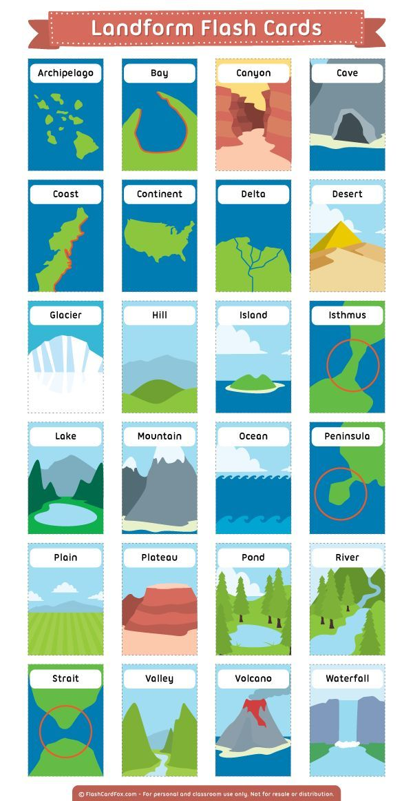 Free printable landform flash cards for learning common geographical features. D… – Rachel O'Nan