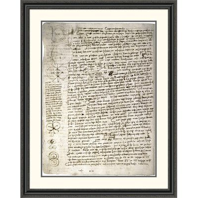 Global Gallery 'Codex Leicester: Science of Waves' by Leonardo Da Vinci Framed Painting Print Size: