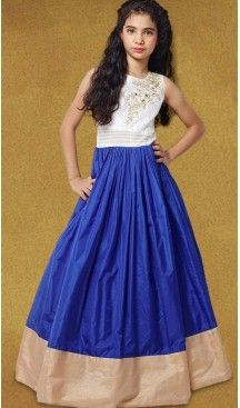 Blue Color Silk A-line Style Party Wear Kids Gown Dress | FH519678927 #girls , #dress , #anarkali , #lehenga , #party , #gowns , #designer , #fashion , #boutique, #baby , #teenagers , #cloth , #readymade , #salwar , #kameez , #wear , #heenastyle , #online , @heenastyle , #ashin , #indian , #dupatta , #churidar , #ethnic