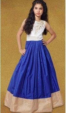 Blue Color Silk A-line Style Party Wear Kids Gown Dress | FH519678927 #girls , #dress , #anarkali , #lehenga , #party , #gowns , #designer , #fashion , #boutique, #baby , #teenagers , #cloth , #readymade , #salwar , #kameez , #wear , #heenastyle , #online , @heenastyle , #ashin , #indian , #dupatta , #churidar , #ethnic