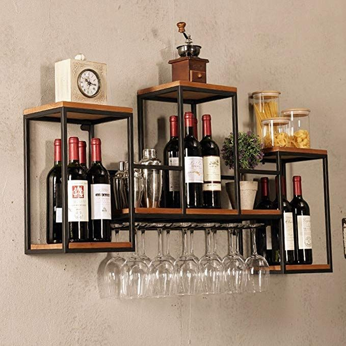 Amazon Com Industrial Wall Mounted Loft Retro Iron Metal Wine Rack Shelf Wine Bottle Glass Rack Bar She Wine Rack Shelf Wine Rack Design Wine Glass Storage