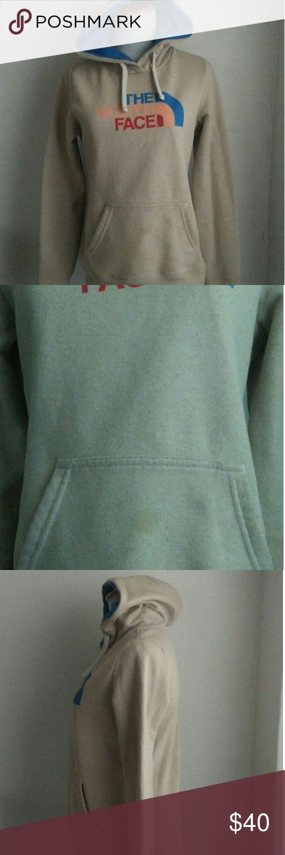 North Face women's Hoodie North Face khaki/  beige Hoodie Been worn a few times / does has a small stain on the front Tops Sweatshirts & Hoodies