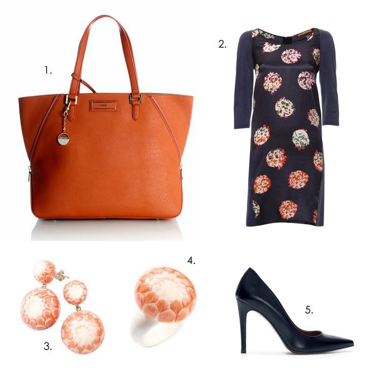 Office day outfit #ZSISKA 1.Shopper: DKNY 2.Dress: Boss Orange 3.Earrings: Zsiska Lotus 4.Ring: Zsiska Lotus 5.Pumps: Zara