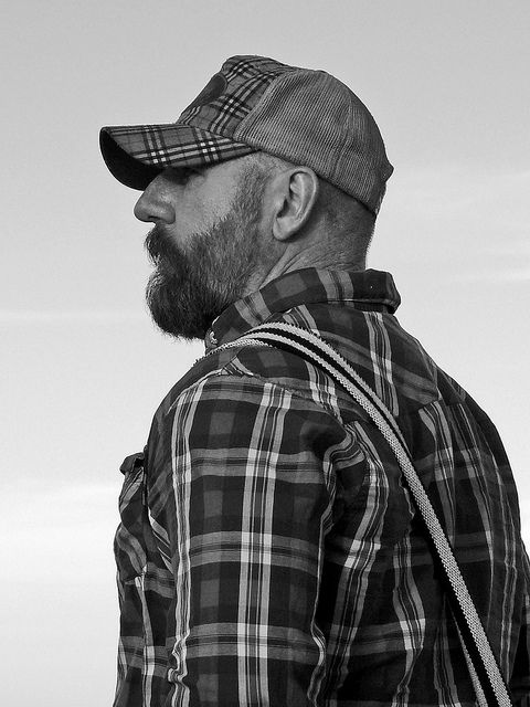 bearded trucker flannel suspenders men pinterest hommes. Black Bedroom Furniture Sets. Home Design Ideas