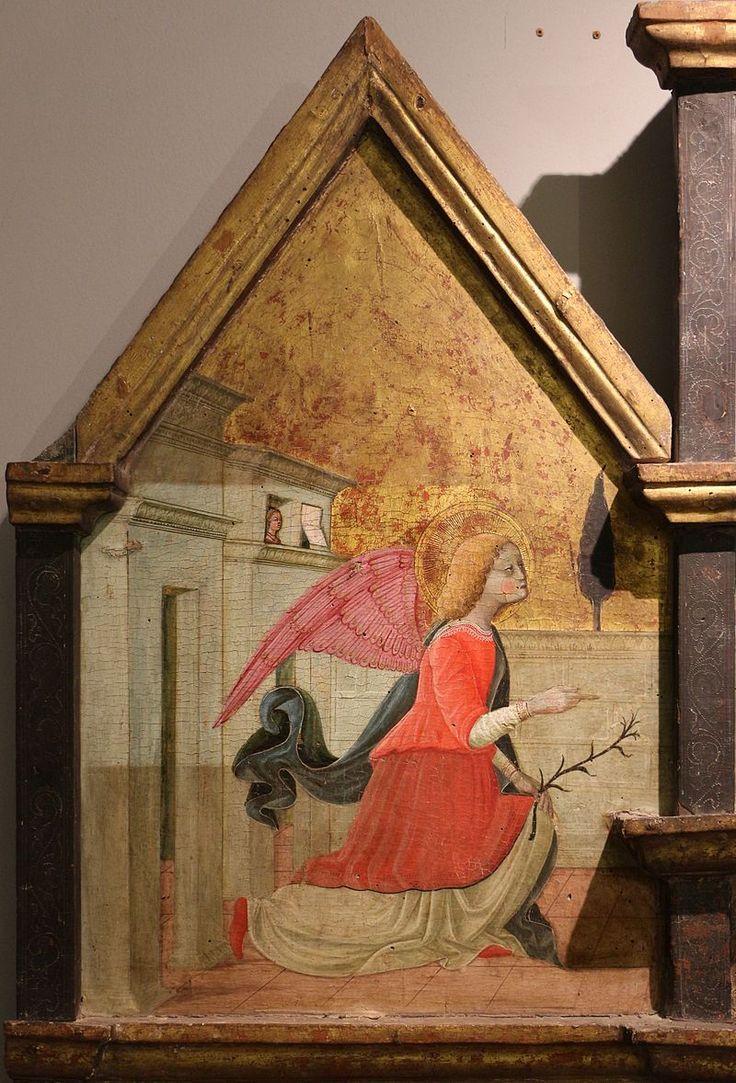 Matteo da Gualdo, trittico di Nasciano, annunciazione l'Angelo