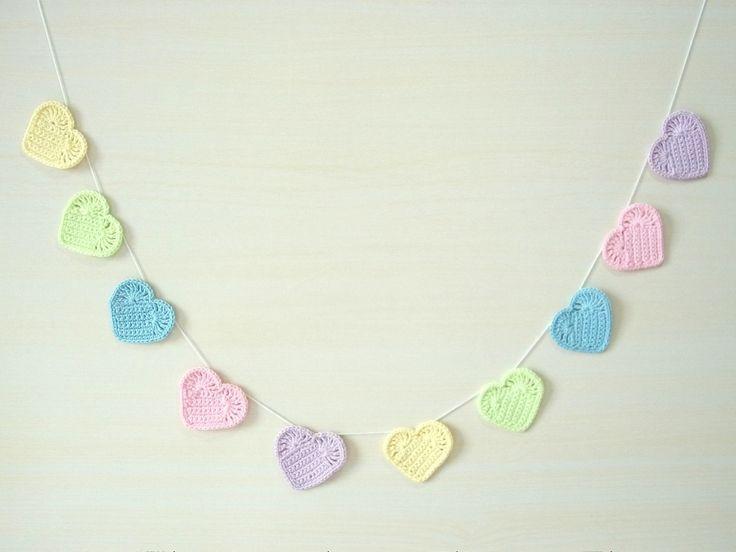 Varal de corações em crochê Baby | Crocheteria da Mel | Elo7