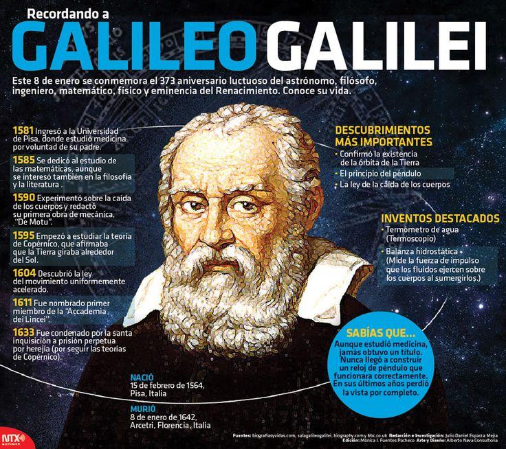 En el 373 aniversario luctuoso del astrónomo, filósofo, ingeniero, matemático, físico y eminencia del Renacimiento, Galileo Galilei, recordamos la historia de su vida. #Infografia