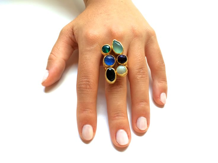 Exotic Ring | Gemstones mounted on Gold Filled | One of a Kind | Fashion | Accessories | Jewelry  https://www.etsy.com/listing/197790739/exotic-ring-gemstones-mounted-on-gold?ref=listing-shop-header-0