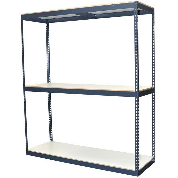 96 in. H x 72 in. W x 24 in. D 3-Shelf Bulk Storage Steel Boltless Shelving Unit w/Double Rivet Shelves & Laminate Board, Powder Coated Steel Color Gray