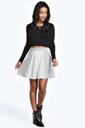 Annie Jacquard Mixed Print Skater Skirt