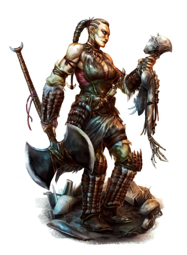 Female Human Greataxe Barbarian - Pathfinder PFRPG DND D&D d20 fantasy