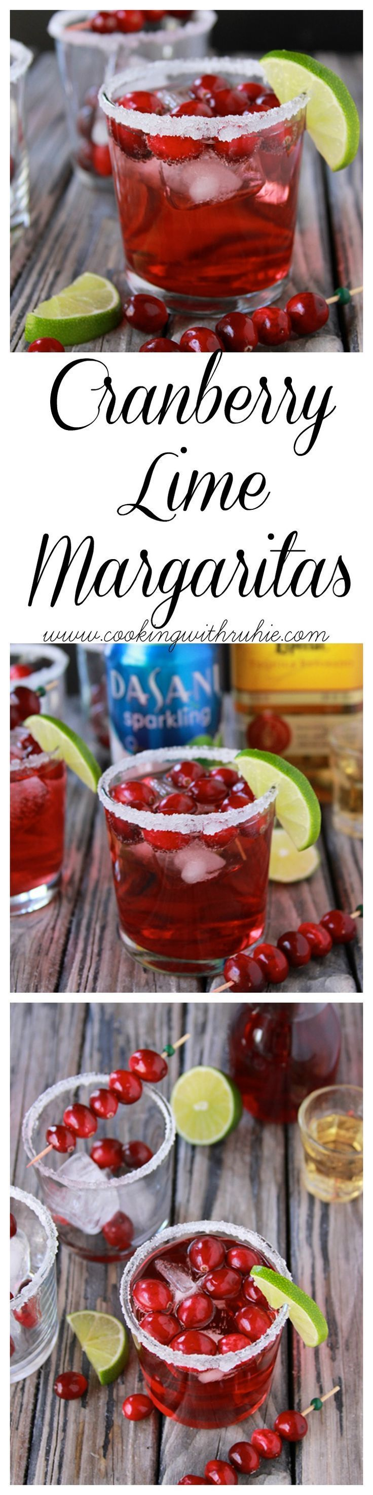 Cranberry Lime Margaritas on http://www.cookingwithruthie.com is a beautiful addition to your holiday parties! #SparklingHolidays /walmart/